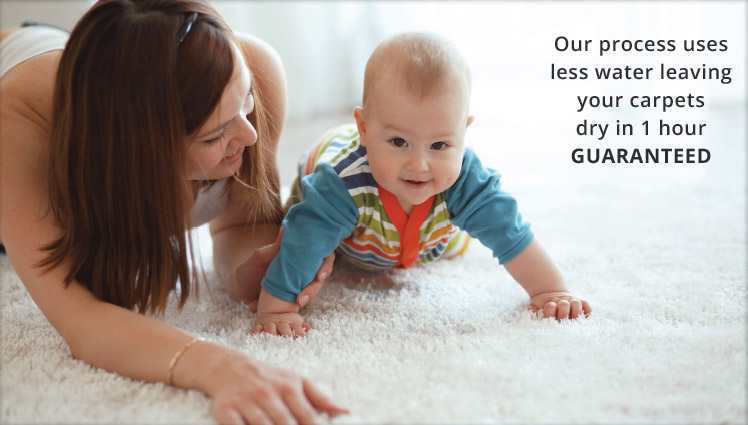 image of mother and baby with wording our process uses less water leaving your carpets dry in 1 hour guaranteed from carpet cleaning authority